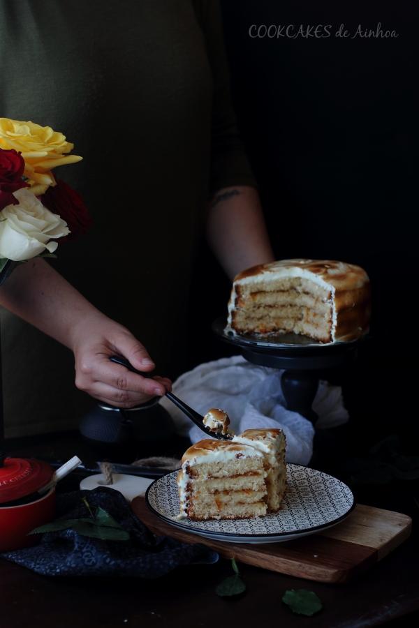 Tarta de Coco y Naranja con Merengue. Cookcakes de Ainhoa