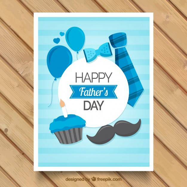 Striped greeting card with masculine accessories Free Vector