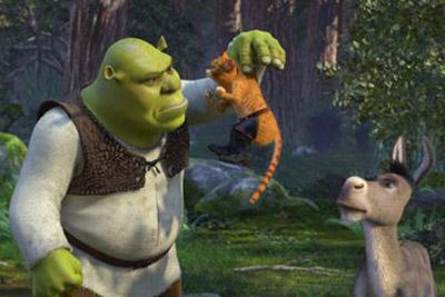 Shrek, burro e gato de botas da animação Shrek 2