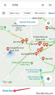 Pass ke sabhi atm ki location check kare