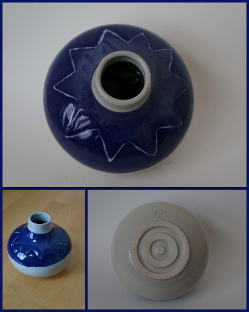 Blue and Celadon ceramic vase by Lily L.