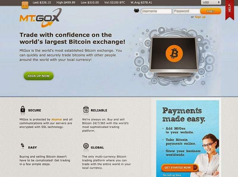 Mt. Gox exchange website home page