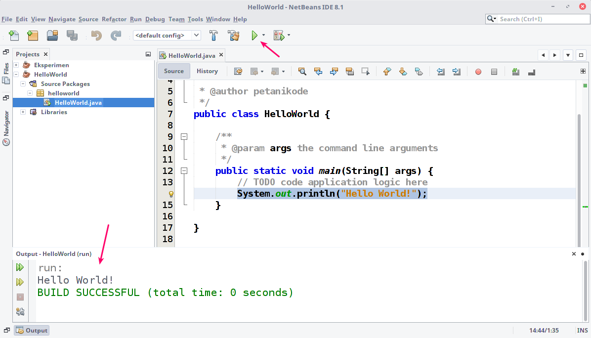 Creating a Java Program and Running it in Netbeans