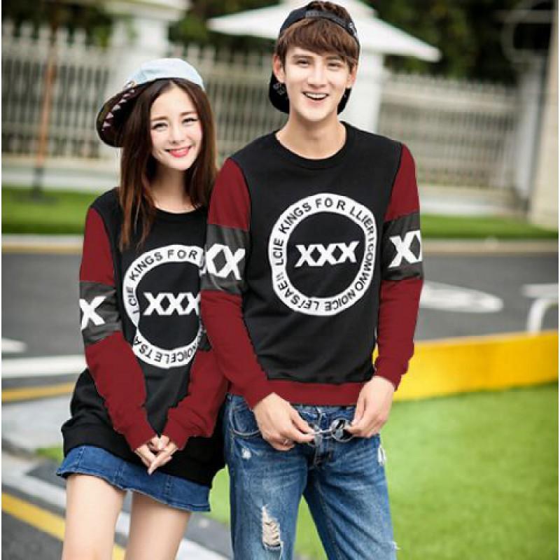 Jual Online Sweater Triple X Black Maroon Couple Murah di Sukabumi Bahan Babytery Terbaru