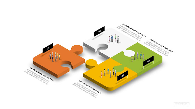 Free PowerPoint Template with Isolated Business Team and Puzzle infographic