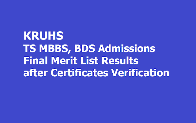 TS MBBS, BDS Admissions Final Merit List Results 2019 after Verification of original certificates by KNRUHS