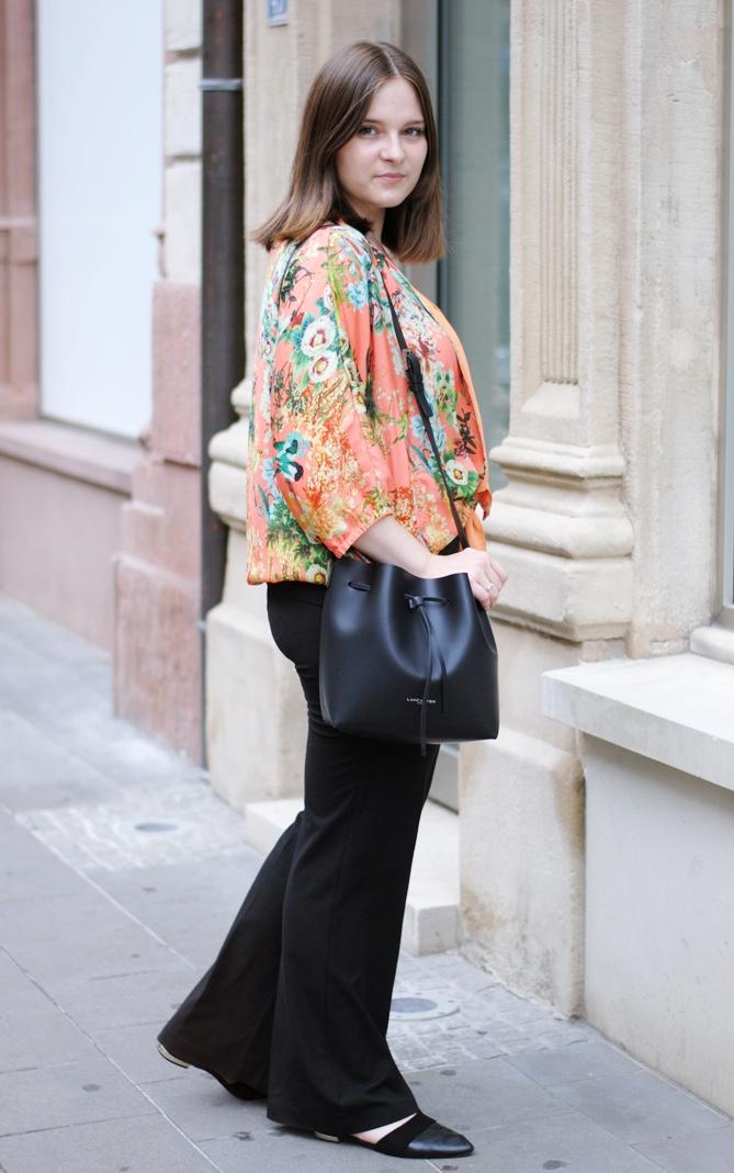 Zara orange flower kimono blouse
