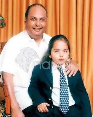 Anant Ambani with Dhirubhai Ambani