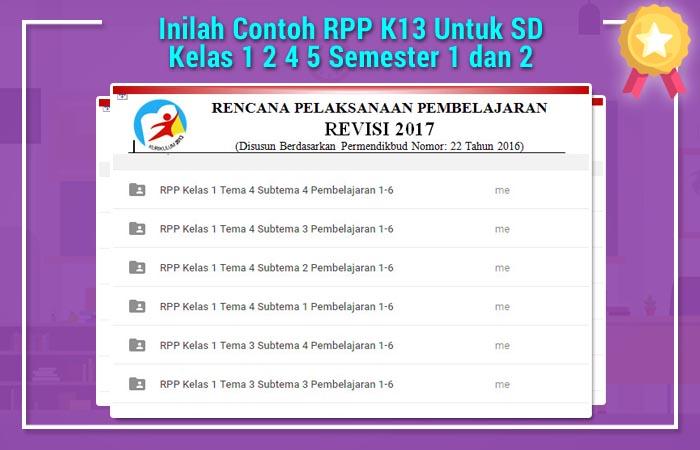 Inilah Contoh RPP K13 Untuk SD Kelas 1 2 4 5 Semester 1 dan 2