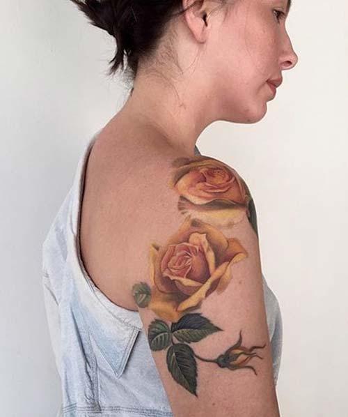 sarı gül kadın omuz dövmeleri yellow rose woman shoulder tattoos