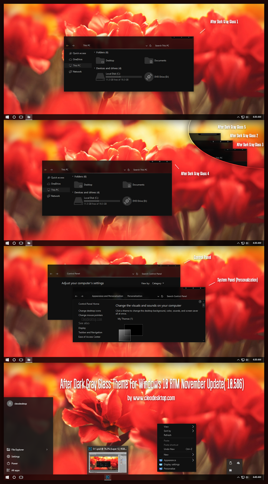 After Dark Gray Glass Theme For Windows10 November Update (10586)