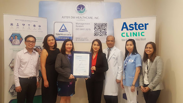 Aster Clinic is first outpatient clinic in the Philippines awarded with an ISO 9001:2015 by TUV Rheinland