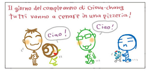 Il giorno del compleanno di Giova-chang tutti vanno a cenare in una pizzeria! Ciao! Ciao!