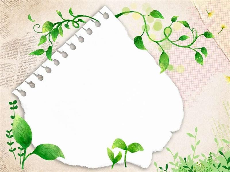 green leaf border PPT backgrounds