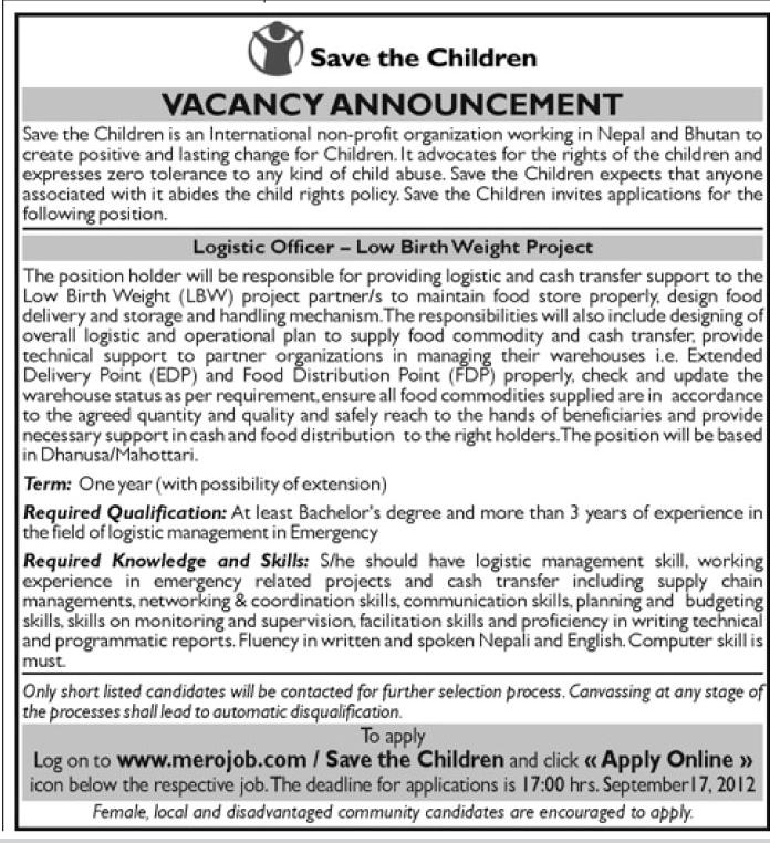 job vacancy save the children low birth weight project jobs in nepal. Black Bedroom Furniture Sets. Home Design Ideas