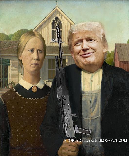 fotomontaggi satirici di dipinti famosi-Donald Trump in American Gothic