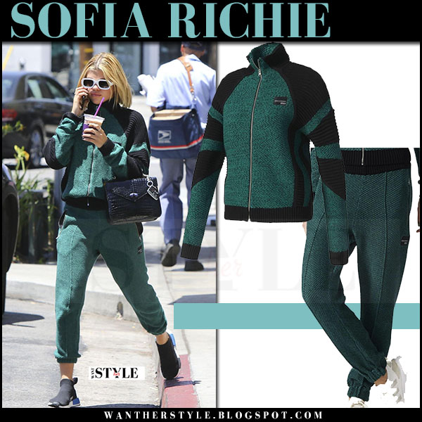 Sofia Richie in green track jacket and green track pants adidas what she wore june 12 2017