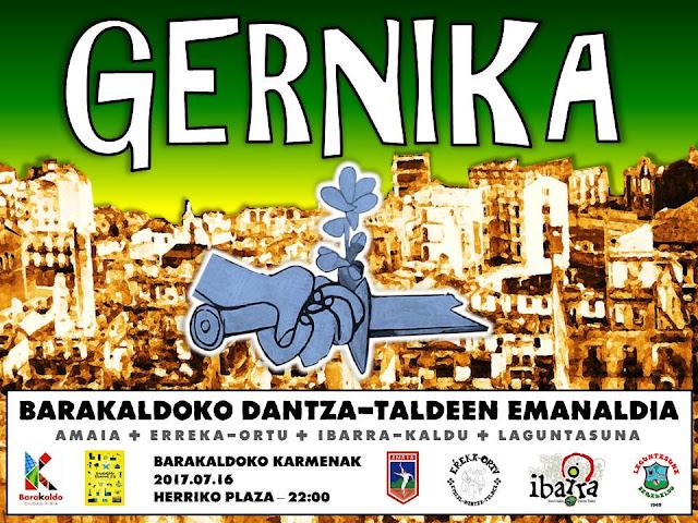 Cartel de la actuación de los grupos de danzas de Barakaldo en las fiestas