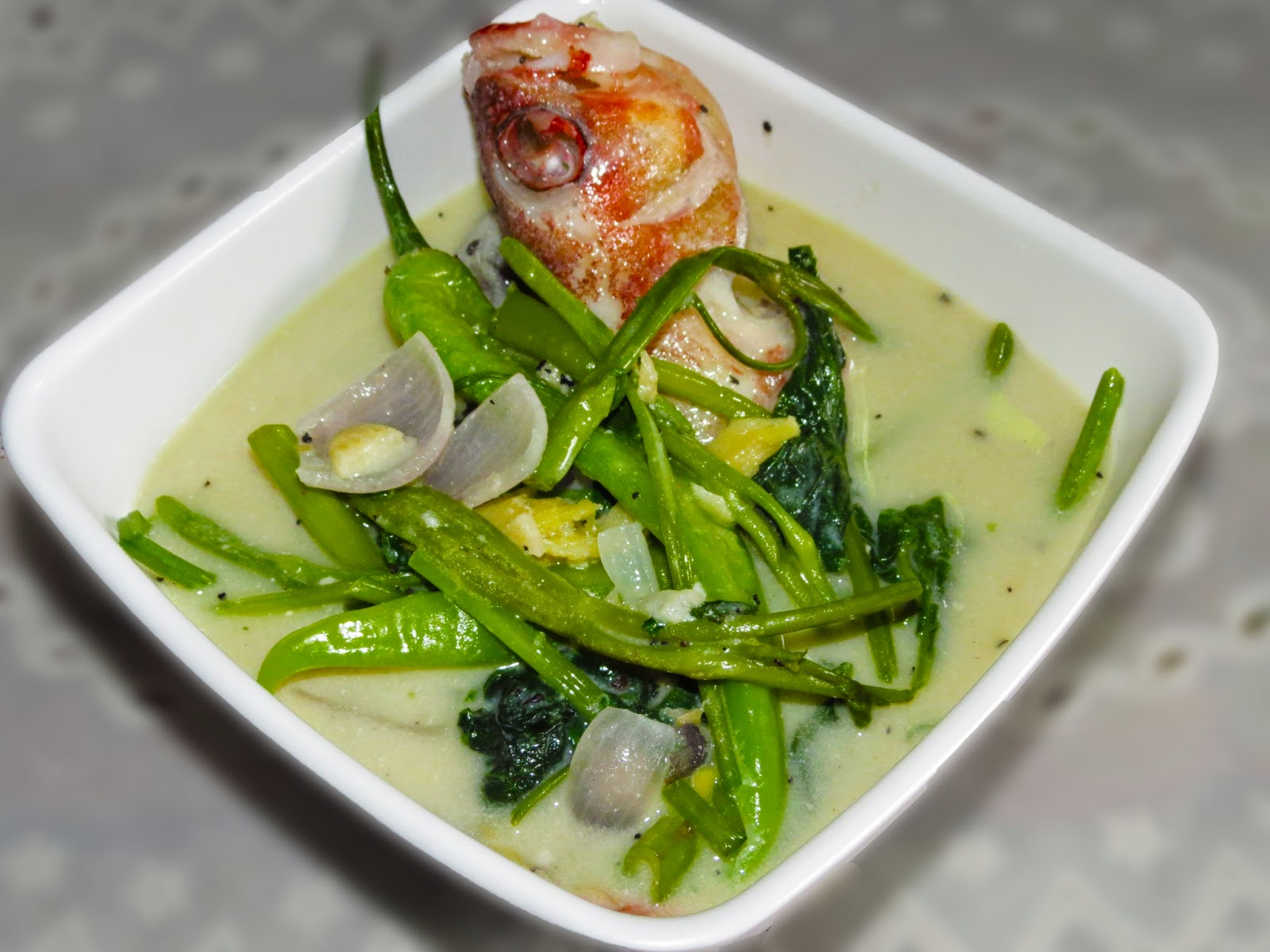 This dish is cooked with coconut milk.