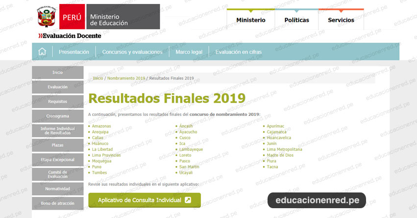 MINEDU: Resultado Final Nombramiento Docente 2019 (Lista de Docentes Nombrados 11 Noviembre) www.minedu.gob.pe