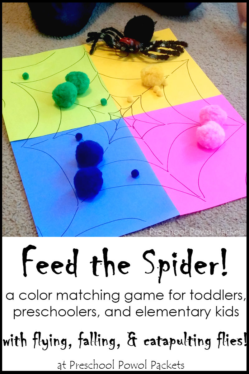 feed the spider color catapulting preschool spider activity