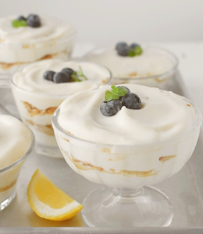 Lemon fluff cream dessert, easy recipe serve on individual cups