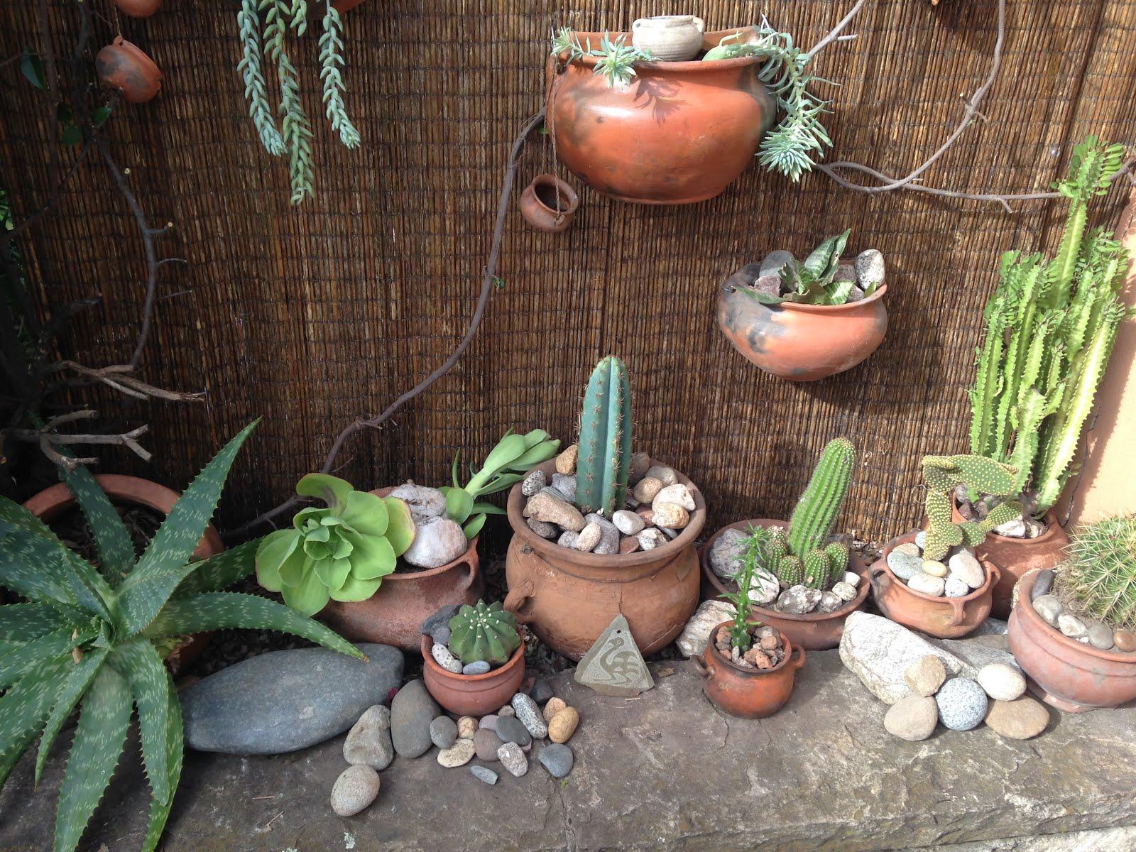 Unas piedras cacharros macetas de barro cactus y - Jardines con cactus y piedras ...