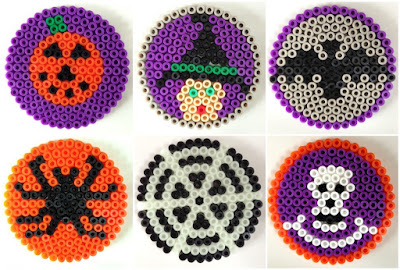 Hama bead Halloween coaster designs