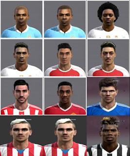 Faces: Martial, Griezmann, Danilo, Fernandinho, Pelle, Bellerin, Huntelaar, Marcelo, Ozil, Pogba, Pes 2013