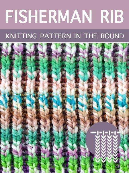 Hand Knitting Stitches - Fisherman Rib in the round
