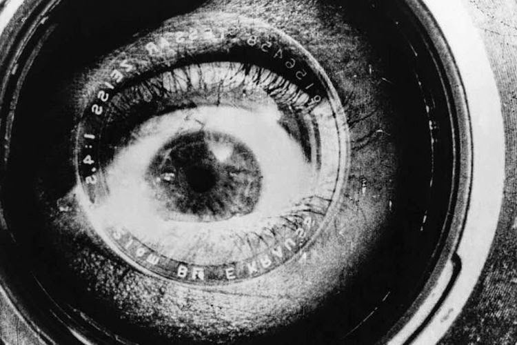 A close-up of an eye in Dziga Vertov's Man with a Movie Camera.