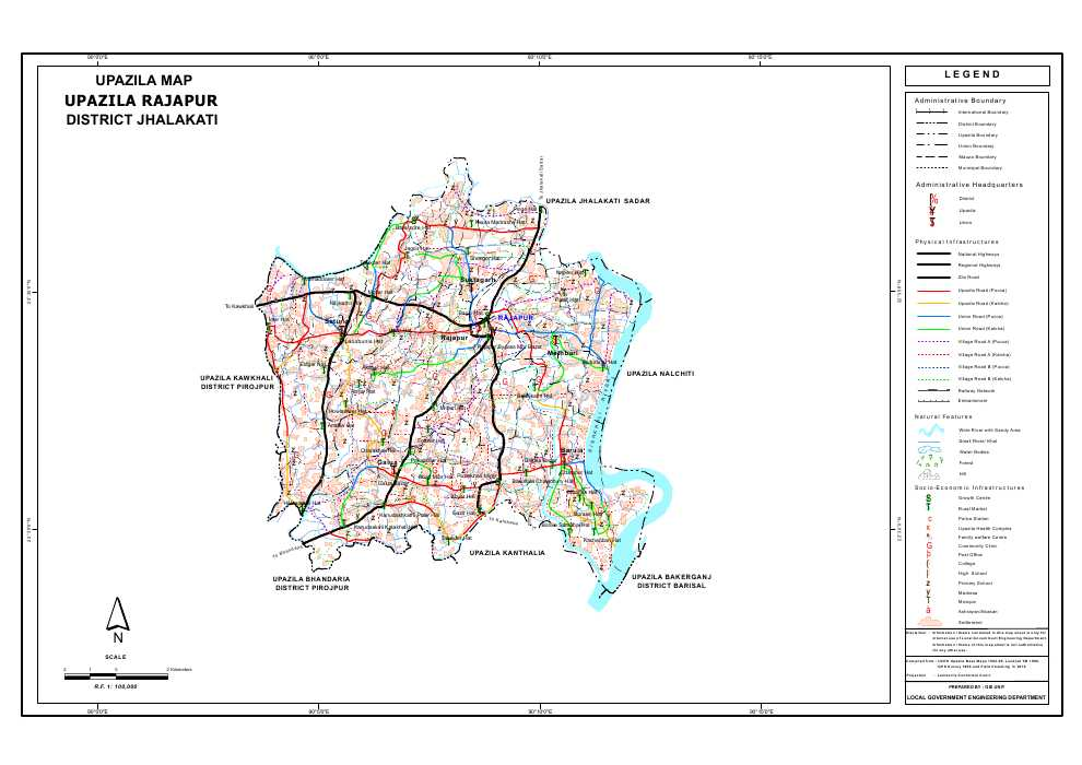 Rajapur Upazila Map Jhalokathi District Bangladesh