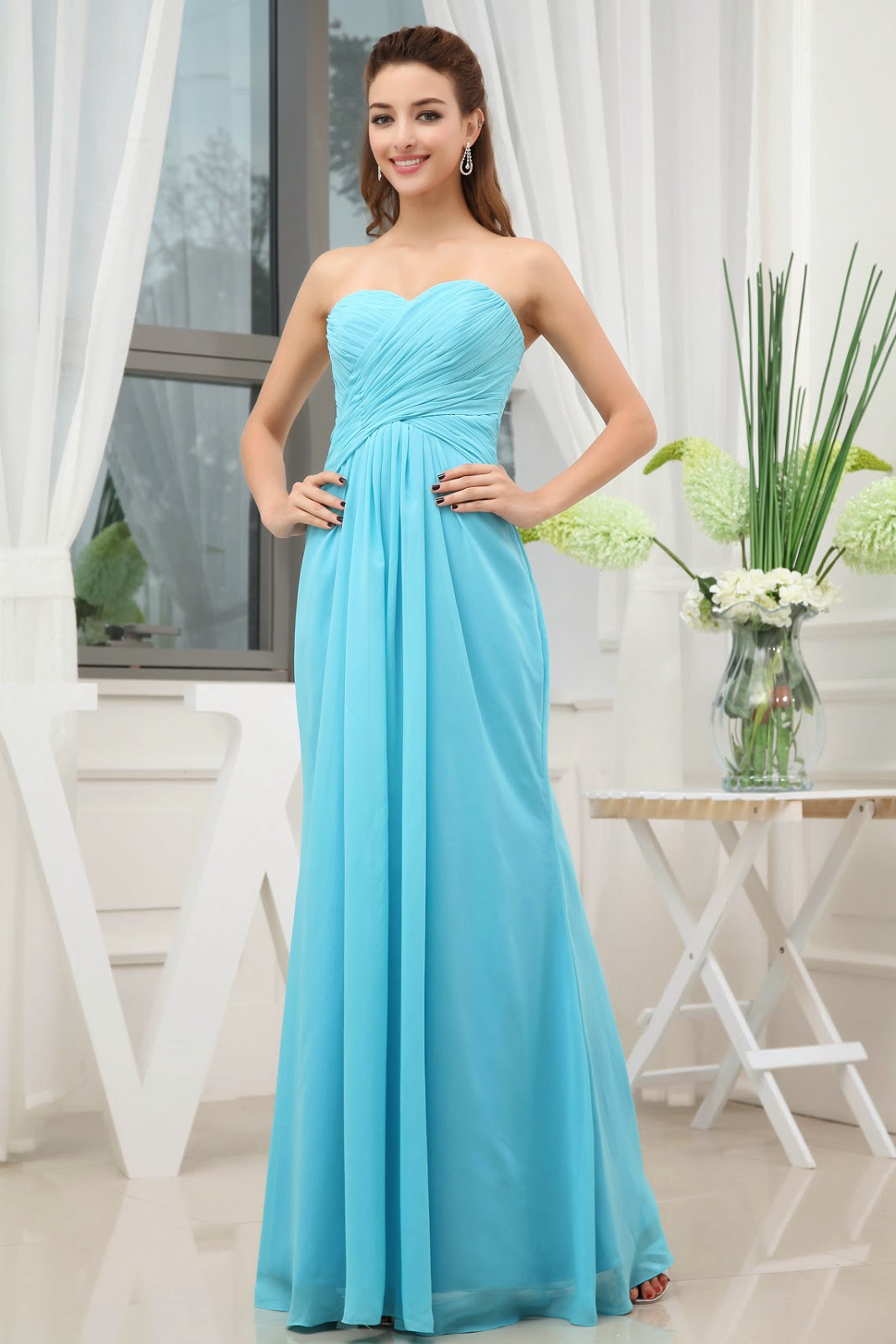 sky blue long dress