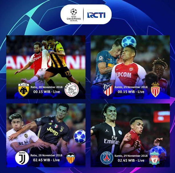 Jadwal Liga Champions Rabu-Kamis 27-28 November 2018 Siaran Langsung RCTI