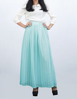 Model Rok Rempel Panjang Bahan Sifon Warna Tosca