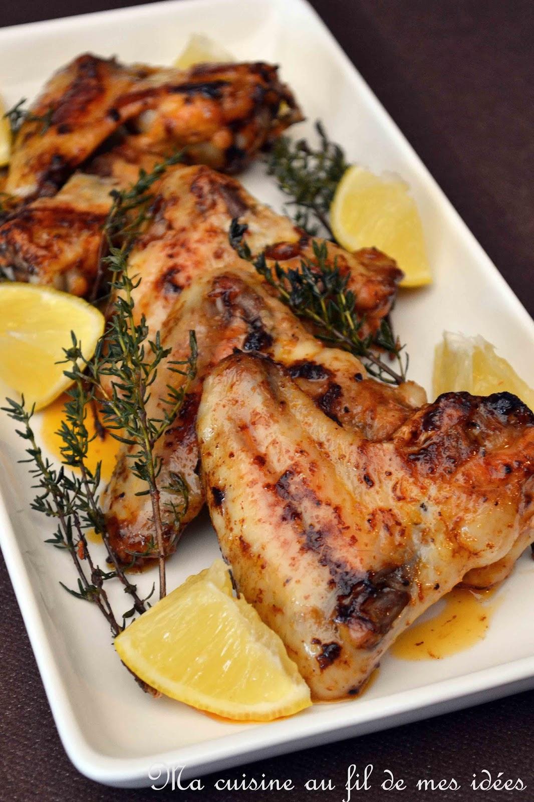 ma cuisine au fil de mes id es ailes de poulet grill es au paprika miel citron et thym. Black Bedroom Furniture Sets. Home Design Ideas
