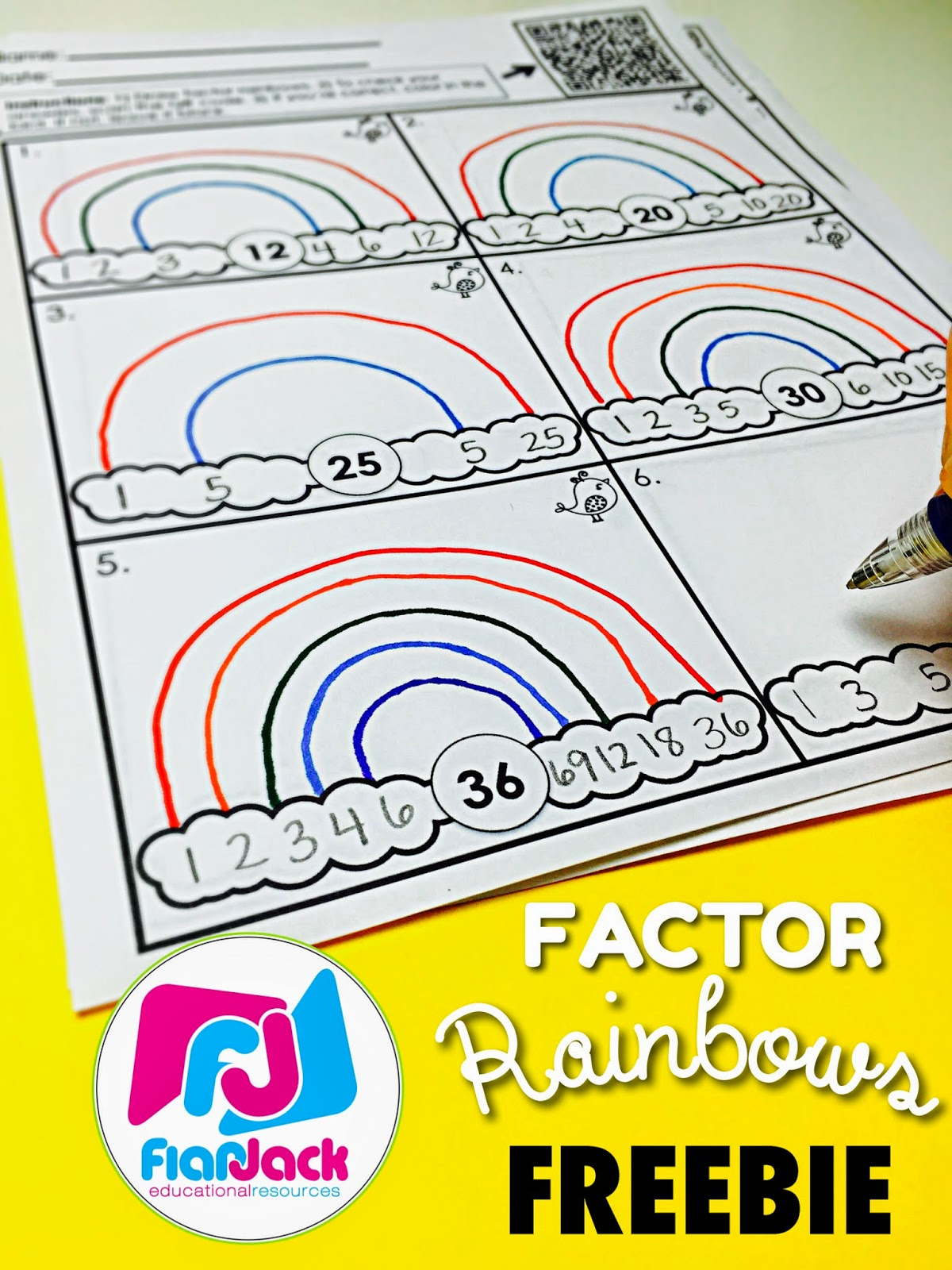 Classroom Freebies Factor Rainbows Worksheet