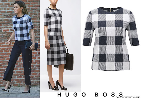 Queen Letizia wore BOSS Floriza Gingham Wool Blend Knit Top
