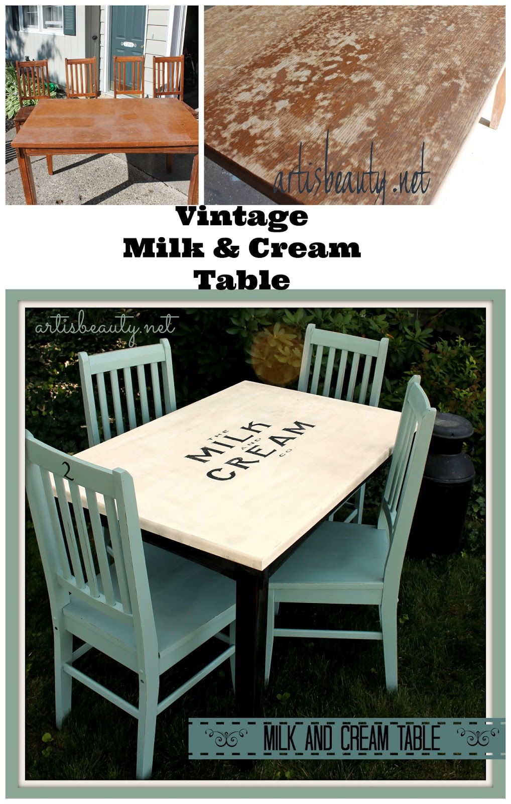 ART IS BEAUTY Rescued Table And Chairs Turned Vintage Farmhouse Milk Cream