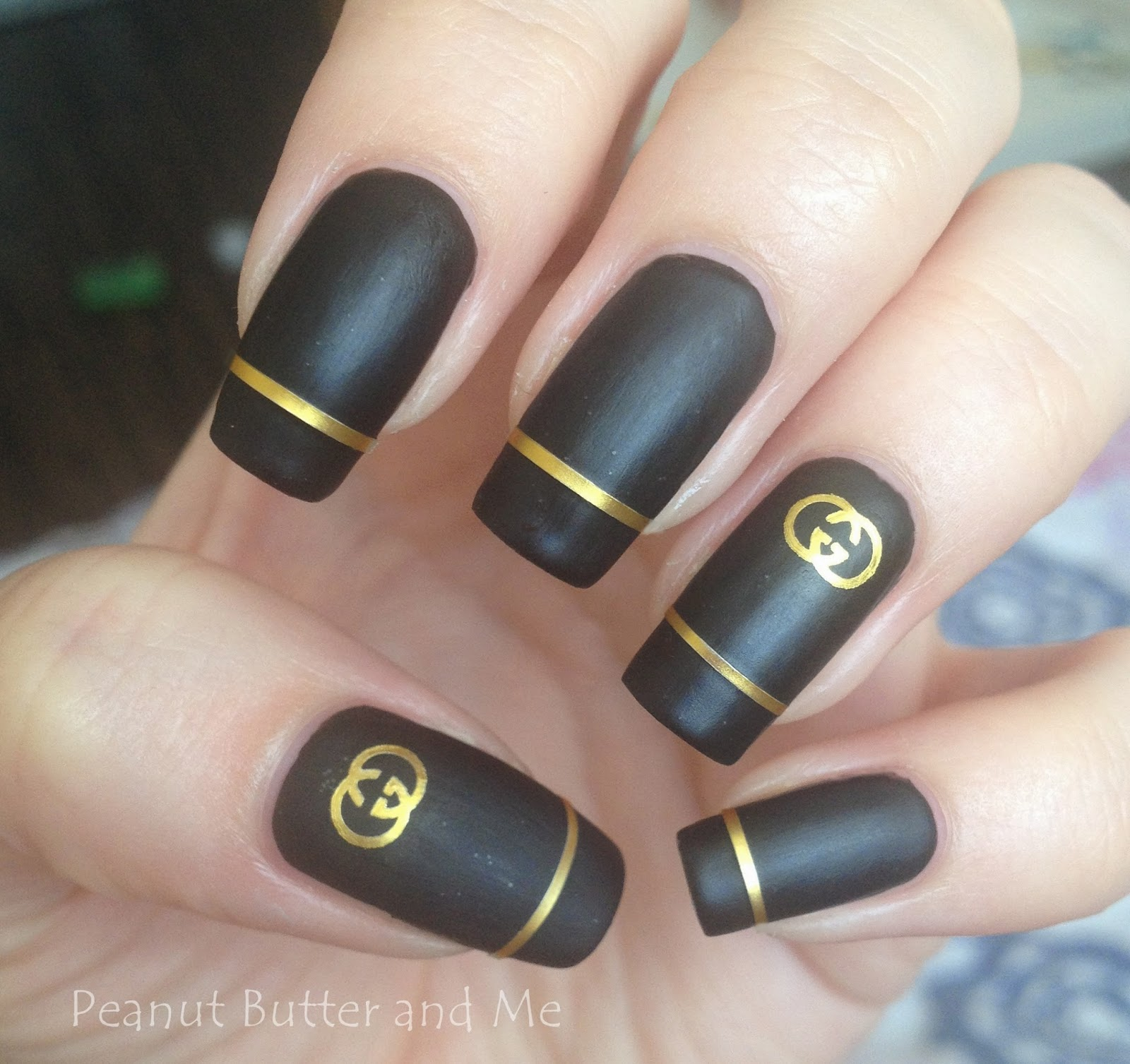 Gucci matte nails polish black gold