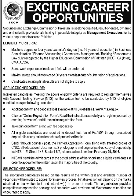 Management Executive Jobs in Securities & Exchange Commission of Pakistan