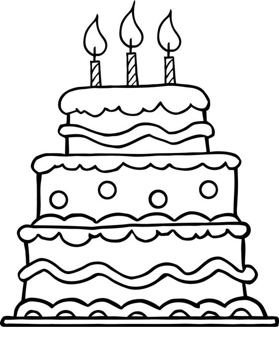 Tranh tô màu bánh sinh nhật ba tầng