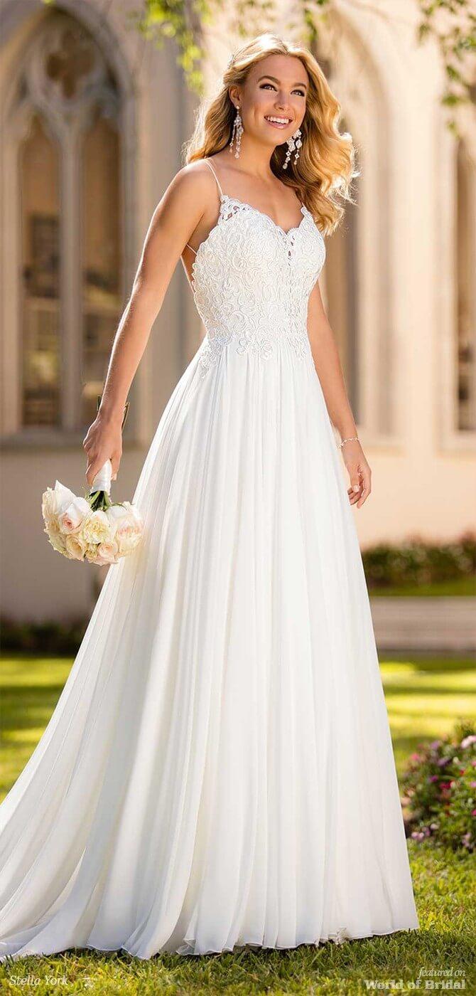 5ba77ce228b Stella York Spring 2018 Beach Wedding Dress with Silk Chiffon
