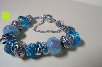 Seite: A TE® Armband Charms Damen Kristall Blau Muranoglas Blume Glasperle Mädchen Geschenk Frauen #JW-B94