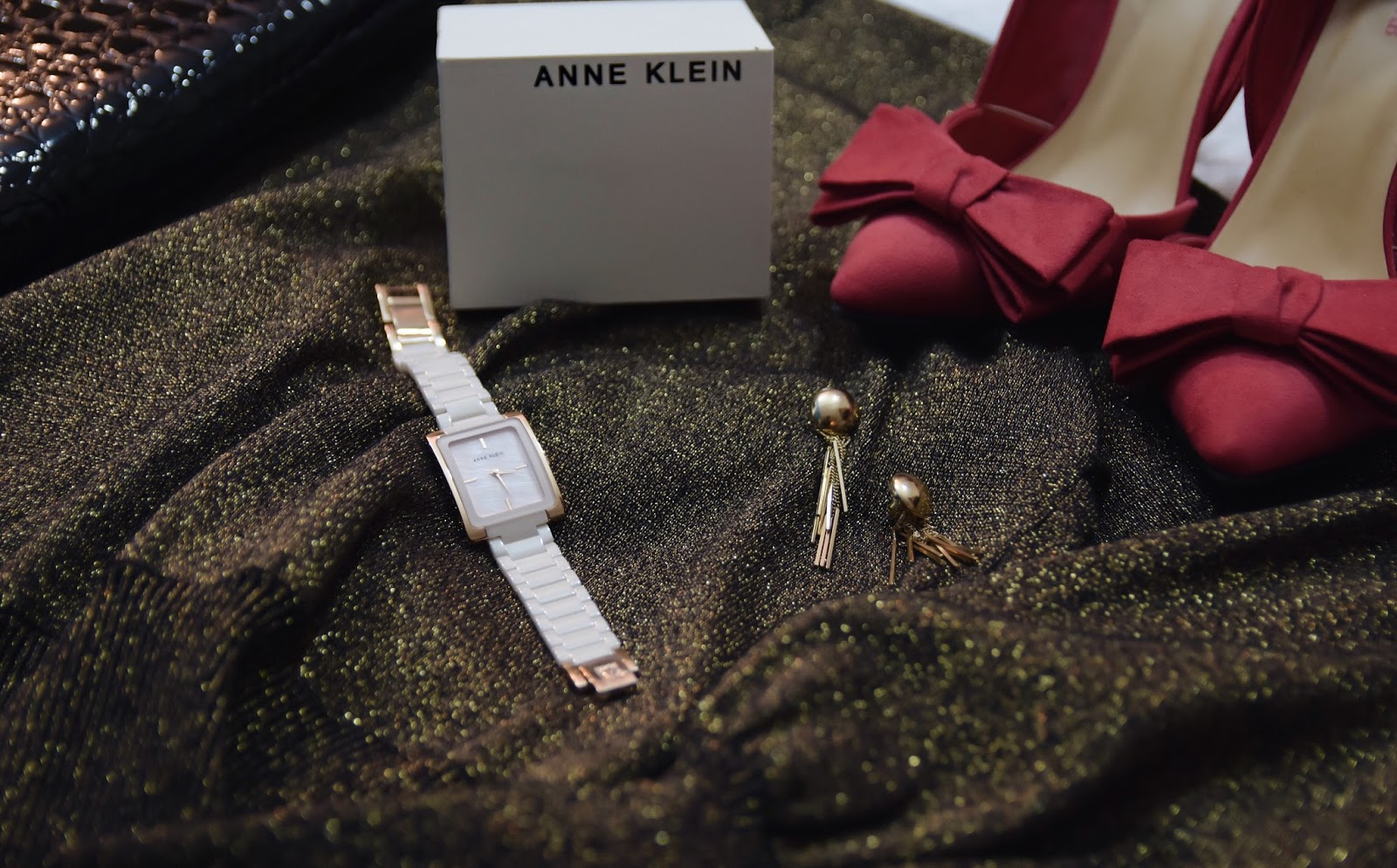 Your Style Guide To A Holiday Party This Season, Anne Klein, watches, pink watches, macy's watches, holiday outfit ideas, holiday gift ideas, sequins, printed hosiery