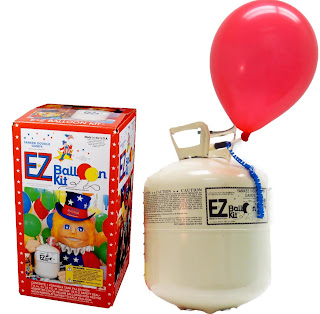 E-Z Balloon Kit is a portable disposable helium tank and self sealing latex balloons