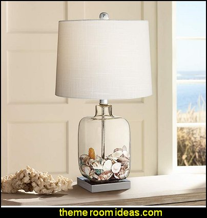 Square Glass Fillable Table Lamp      beach cottage coastal living style decorating