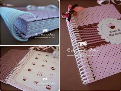 caderno receitas personalizado rosa