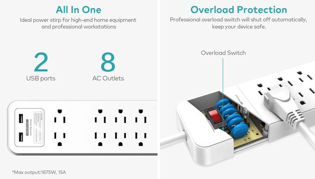 Xcentz Surge Protector Power Strip w/ USB Ports images