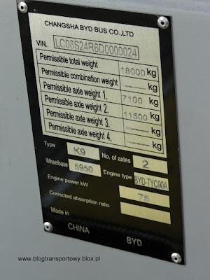 BYD K9 - tabliczka znamionowa